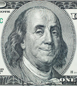 crop of $100 bill Ben Franklins face