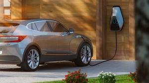 electric car in driveway