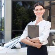 female car salesperson square