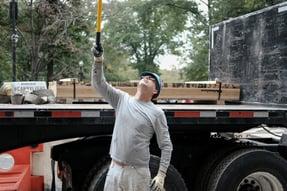 flatbed truck const worker