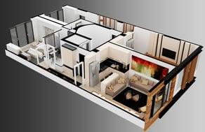 3D rendering of a floor plan interior design