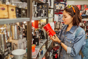 Woman browsing home decor gifts