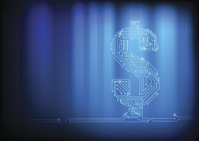 Digital dollar sign blue background