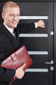 salesman knocking on door