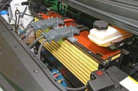 under hood of electric car -EV