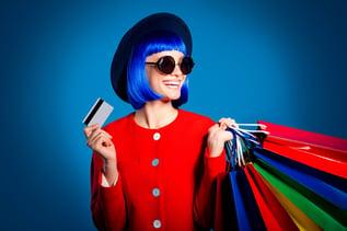 woman loving credit card