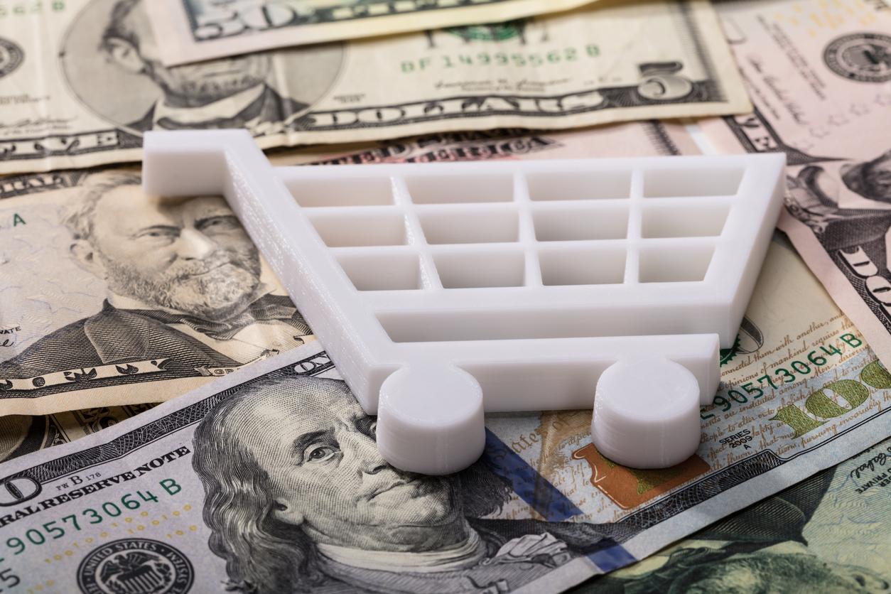Money, dollars, grocery shopping